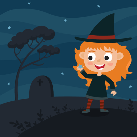 Vector cute cartoon kid in colorful halloween costume - witch. Halloween poster with night landscape. Cartoon character design of girl isolated on white used for books, stickers, posters, web pages.