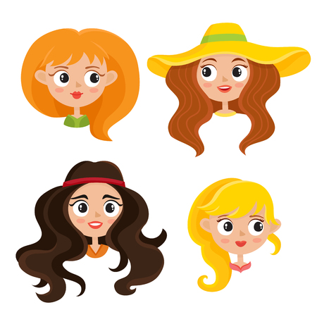 Vector set of woman hippies portraits with bohemian hairstyle in cartoon style isolated on white. Woodstock Sixties girls. Illustration