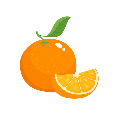 Bright vector set of colorful slice and whole of juicy orange. Fresh cartoon oranges on white background.