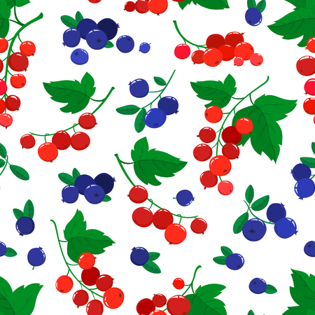 Vector seamless pattern with cartoon blueberries and currants isolated on white. Bright berries branch. Illustration used for magazine, book, poster, card, menu cover, web pages.