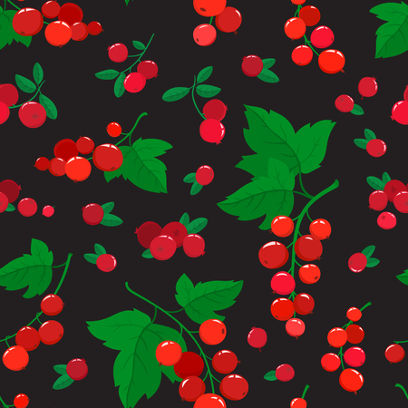Vector seamless pattern with cartoon cranberries and currants isolated on black. Bright berries branch. Illustration used for magazine, book, poster, card, menu cover, web pages. Illustration