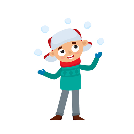 Happy teenage in winter clothes playing with a snowballs, vector illustration isolated on white background. Little boy in cartoon style. Illustration