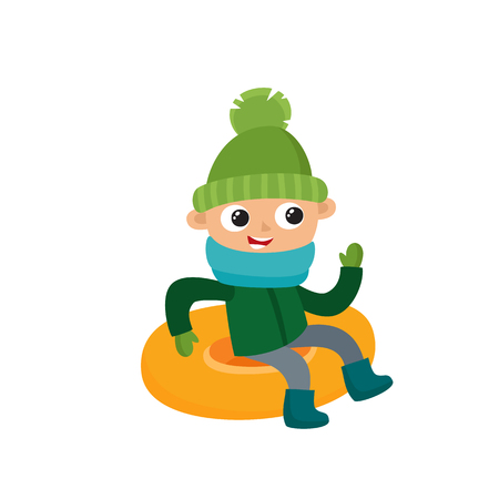 Happy teenage in winter clothes on snow tubing, vector illustration isolated on white background. Little boy in cartoon style. Illustration