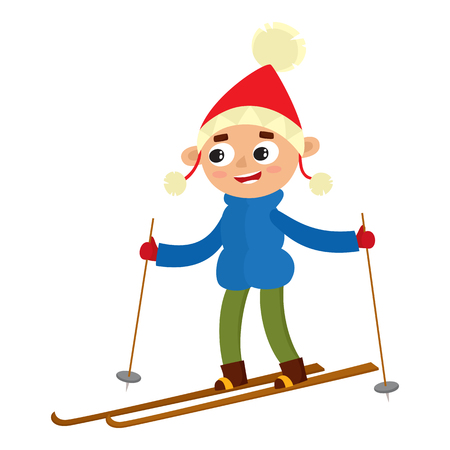 Cartoon teenaged boy with ski, cartoon vector illustration isolated on white background. Full height portrait of teenage on skis, fun winter activity, outdoor leisure time
