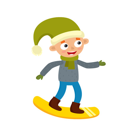 Cartoon teenaged boy with snowboard, cartoon vector illustration isolated on white background. Full height portrait of teenage on snowboard, fun winter activity, outdoor leisure time