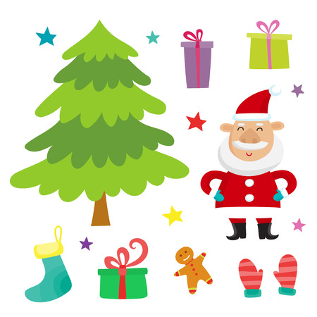 Vector set with santa claus, christmas tree and  presents collec Banque d'images - 121001452