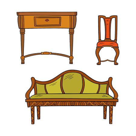 Furniture set - antique bureau, tables, chair isolated on a white background. Vector drawing lines, sketch style