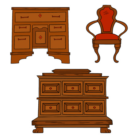 Antiqu furniture set - antique bureau, table, chair isolated on a white background. Vector drawing lines, sketch style