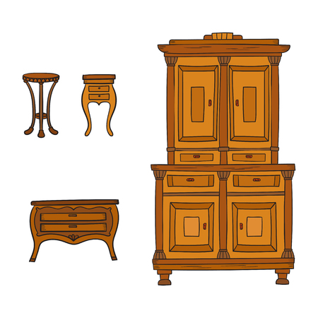 Antique furniture set - closet, nightstand and bureau isolated on a white background. Vector drawing lines, sketch style Illustration