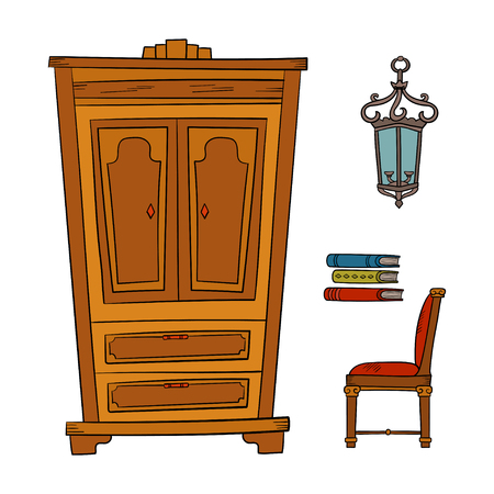 Antique furniture set - closet, lamp, book and chairs isolated on a white background. Vector drawing lines, sketch style