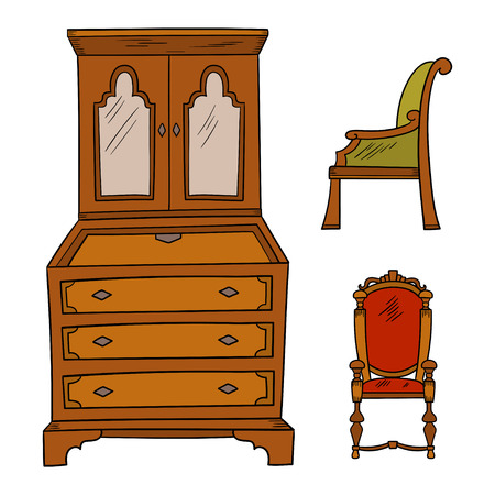 Antique furniture set - closet and chairs isolated on a white background. Vector drawing lines, sketch style