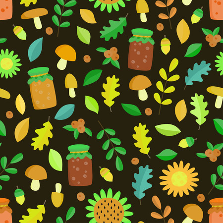 Vector seamless pattern illustration with leaves, mushrooms and jam. Suitable for fabric, Wallpaper, wrapping paper. Illustration