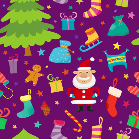 Christmas seamless simple pattern with colorful stars, christmas tree, Santa, gifts. Seamless pattern can be used for wallpapers, textile,surface textures.