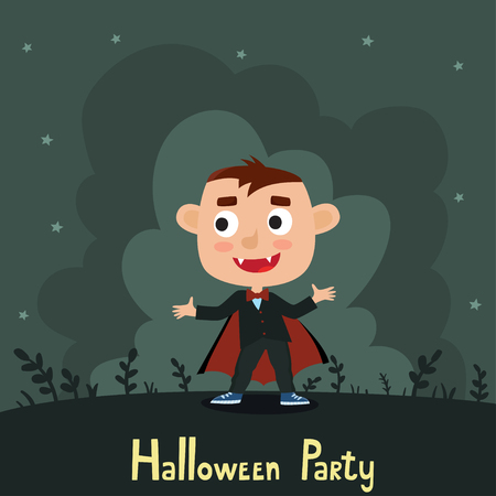 Vector set of cute cartoon kid in colorful halloween costume, vampire. Halloween poster with night landscape. Cartoon character design of boy isolated on white used for child books, stickers, posters, web pages.