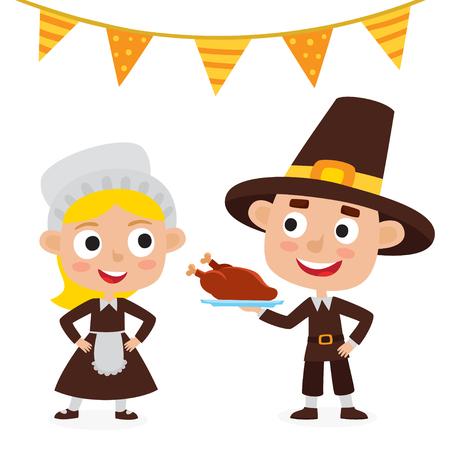 Feliz día de acción de gracias. Tarjeta de felicitación con personajes de personas y comida navideña.