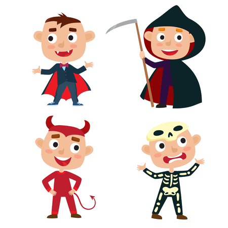 Vector set of cute cartoon children in colorful halloween costumes, devil, vampire, skeleton, death. Cartoon character design of boys isolated on white used for child books, stickers, posters, web pages.