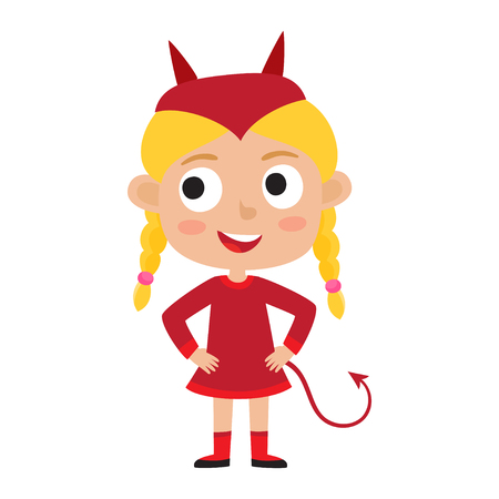 Vector set of cute cartoon kid in colorful halloween costume, devil. Cartoon character design of girl isolated on white used for child books, stickers, posters, web pages. Illustration