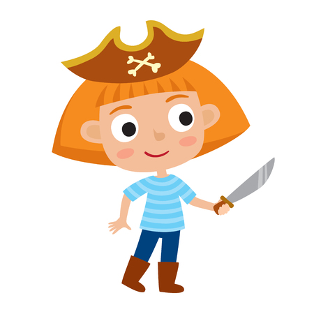 Vector set of cute cartoon kid in colorful halloween costume - pirate. Cartoon character design of girl isolated on white used for child books, stickers, posters, web pages. Illustration