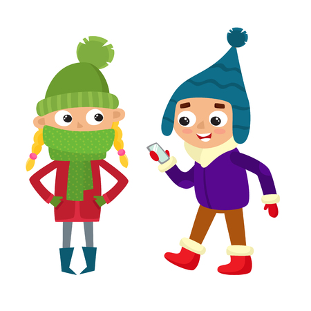 Set of walking young teenages in winter clothes. Boy with mobile, standing girl. Vector illustration of hipster kid in cartoon style. Illustration