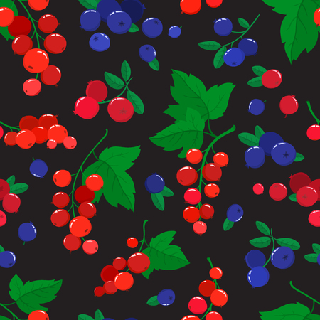 Vector seamless pattern with cartoon blueberries, cranberries and currants isolated on black. Bright berries branch. Illustration used for magazine, book, poster, card, menu cover, web pages.