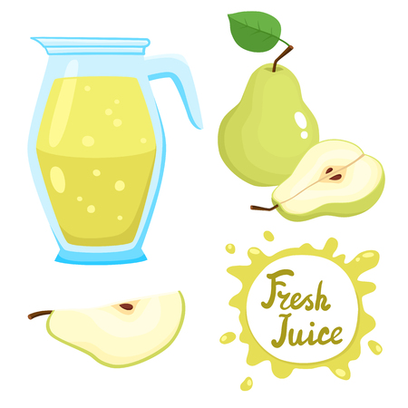 Vector set of natural fresh pear juice in jar and pears isolated on white in cartoon style. Healthy organic fruit beverage. Illustration