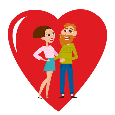 Cool vector hipster couple in love isolated on white. Stock fotó