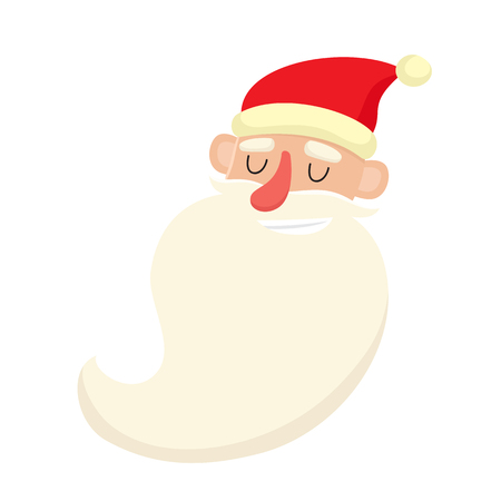 Cute Santa Claus, smiling facial expression, cartoon vector illustration isolated on white background. Old man with happy, glad, smiling face expression.