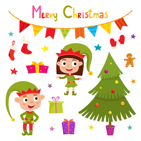 Set of cute little Christmas boy and girl elf smiling, christmas tree, socks, gifts, vector illustration isolated on white used for magazine or book, poster and card, web pages.