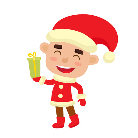 Cute little Christmas boy elf in costume smiling with gift, vector illustration isolated on white used for magazine or book, poster and card, web pages.
