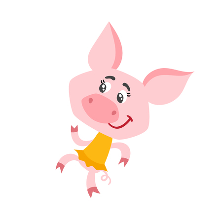 Cartoon pig character dancing isolated on white. Stock Photo