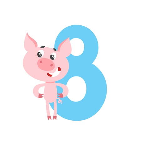 Number eight with cute cartoon pig for kids isolated on white. Learn to count concept illustration and birthday anniversary number used for poster, book, greeting card.