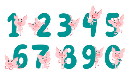 Collection number with cute cartoon pig for kids isolated on white. Learn to count concept set from 1 to 10 used for poster, book, card.