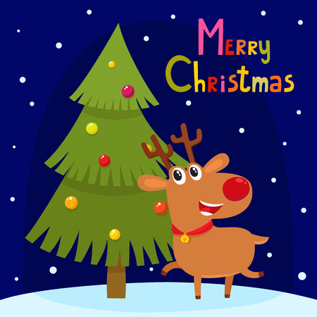 Christmas greeting card with cute cartoon reindeer. Cartoon vector animal characters - symbol of New Year used for poster, banner, postcard, greeting card design