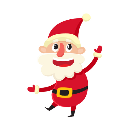 Cute smiling Santa Claus, cartoon vector illustration isolated on white