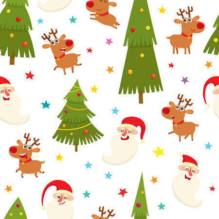Seamless pattern with cartoon reindeers and santa, vector illustration on white background. Illustration with different deers, gifts, candies, stars used for magazine or book, poster, card, web pages.