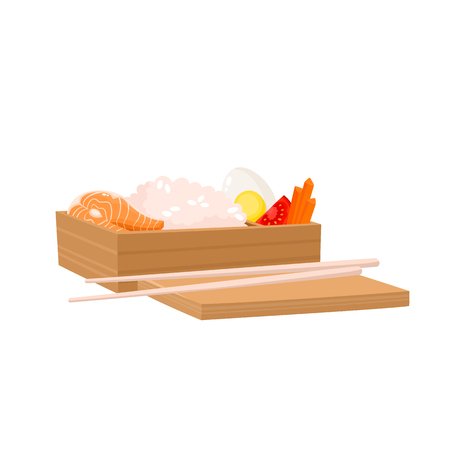 Vector illustration of japanese bento box isolated on white. Traditional asian food with rice, salmon, egg, carrot, tomato used for magazine, kitchen textile, menu cover, web pages.