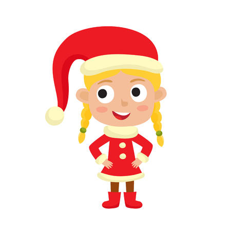 Cute little Christmas girl elf in red costume smiling, vector illustration isolated on white backround used for magazine or book, poster and card, web pages.
