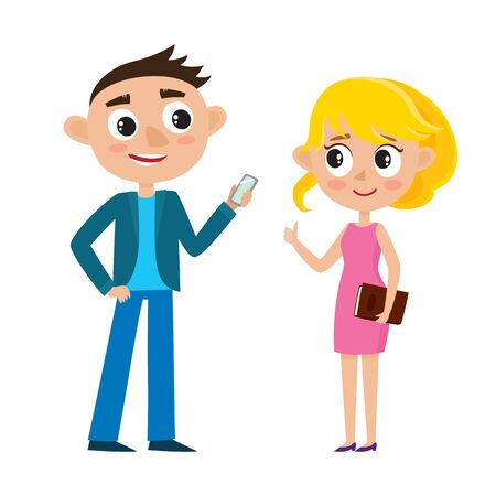 Cartoon business couple in bright clothes isolated on white.