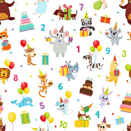 Birthday party cartoon seamless pattern with animals isolated on white.
