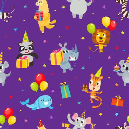 Birthday party cartoon seamless pattern with animals isolated on violet.