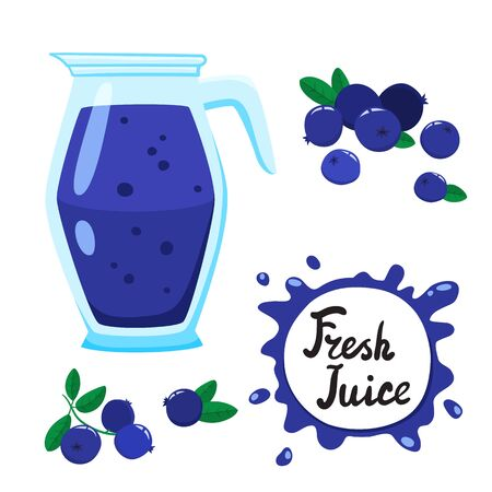 Juice with blueberry in a glass jug, vector cartoon card with fresh berries and smothie isolated on white. Blue juice splashes drops.