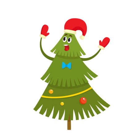 Christmas tree character with red hat and mittens in cartoon style, vector illustration isolated on white background. Green fir tree with balls and garlands, used for magazine or book, poster and card, web pages.