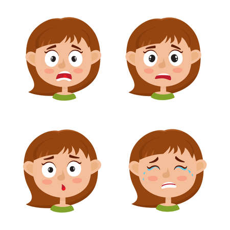 Little girl scared face expression, set of cartoon vector illustrations isolated on white background. Set of kid emotion face icons, facial expressions.