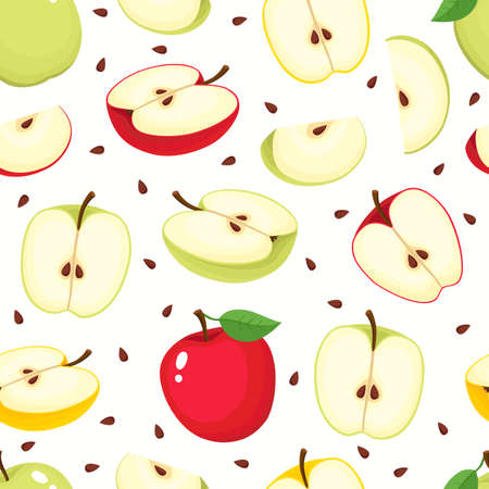 Vector seamless pattern with cartoon apples isolated on white. Bright half, slice and whole of juice fruits. Illustration used for magazine, book, poster, card, menu cover, web pages. Stock Illustratie