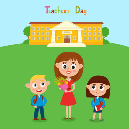 Vector illustration of happy teacher with flower and pupils in cartoon style. Background with school and kids. Happy teachers day card. Stock Illustratie