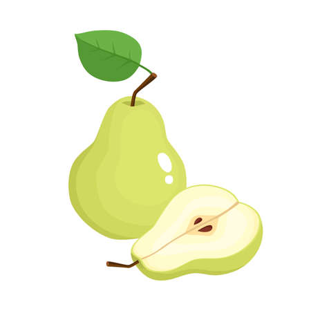 Bright vector illustration of colorful half and whole of juicy pear. Fresh cartoon pears on white background. Stock Illustratie