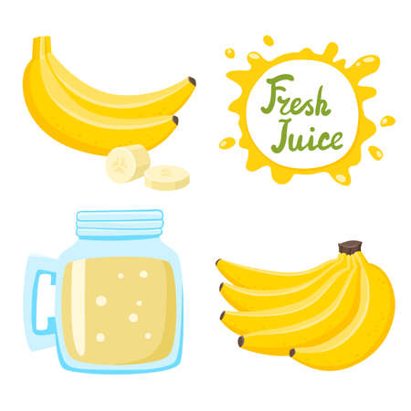 Vector set of natural fresh banana juice in bank and bananas isolated on white in cartoon style. Healthy organic fruit lemonade and speech bubbles with handwritten lettering
