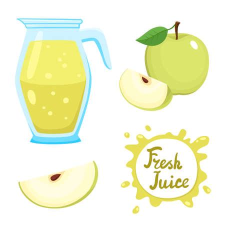 Vector set of natural fresh aplle juice in jar and green apples isolated on white in cartoon style. Healthy organic fruit beverage. Stock Illustratie