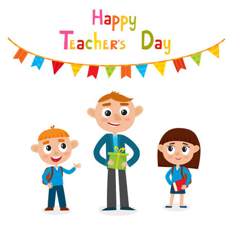 Vector illustration of happy man teacher with gift and pupils in cartoon style isolated on white. Happy teacher's day card.