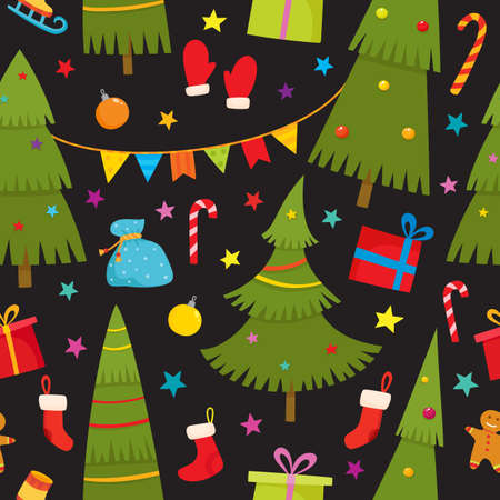 Seamless pattern with cartoon christmas tree, gifts, socks, stars